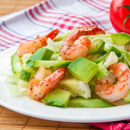 Salade de crevette, au chou et à l'avocat