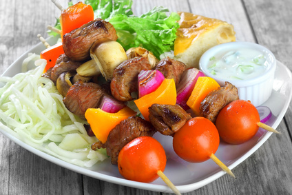 Brochettes de bœuf, poivron et oignon