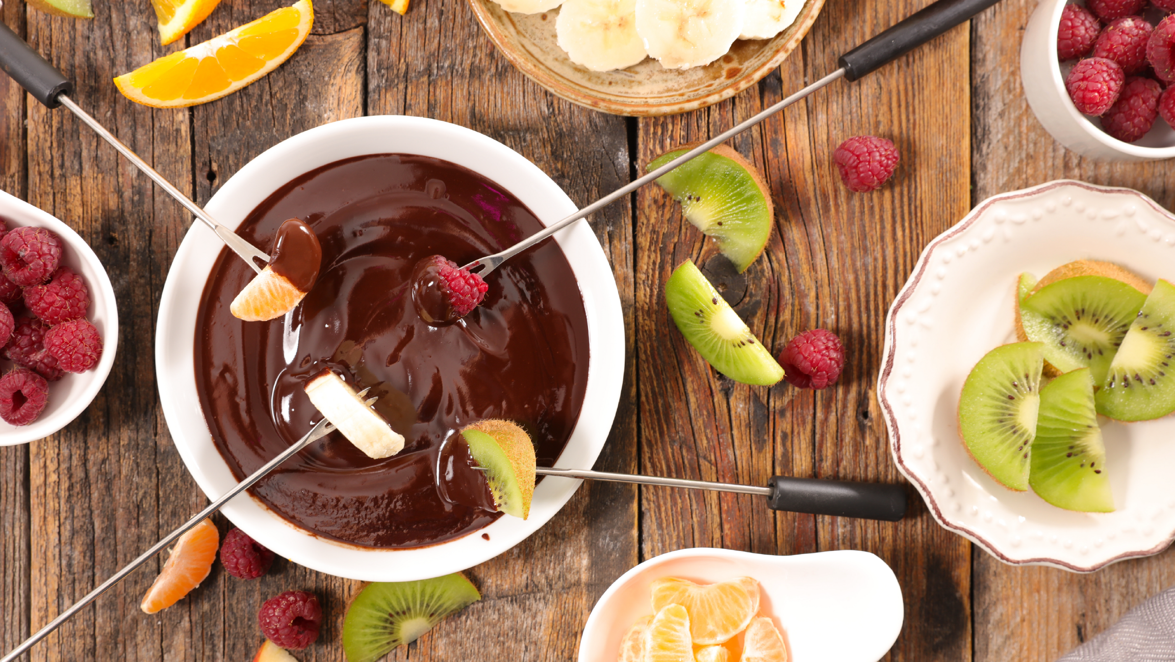 Fondue de chocolat et fruits frais