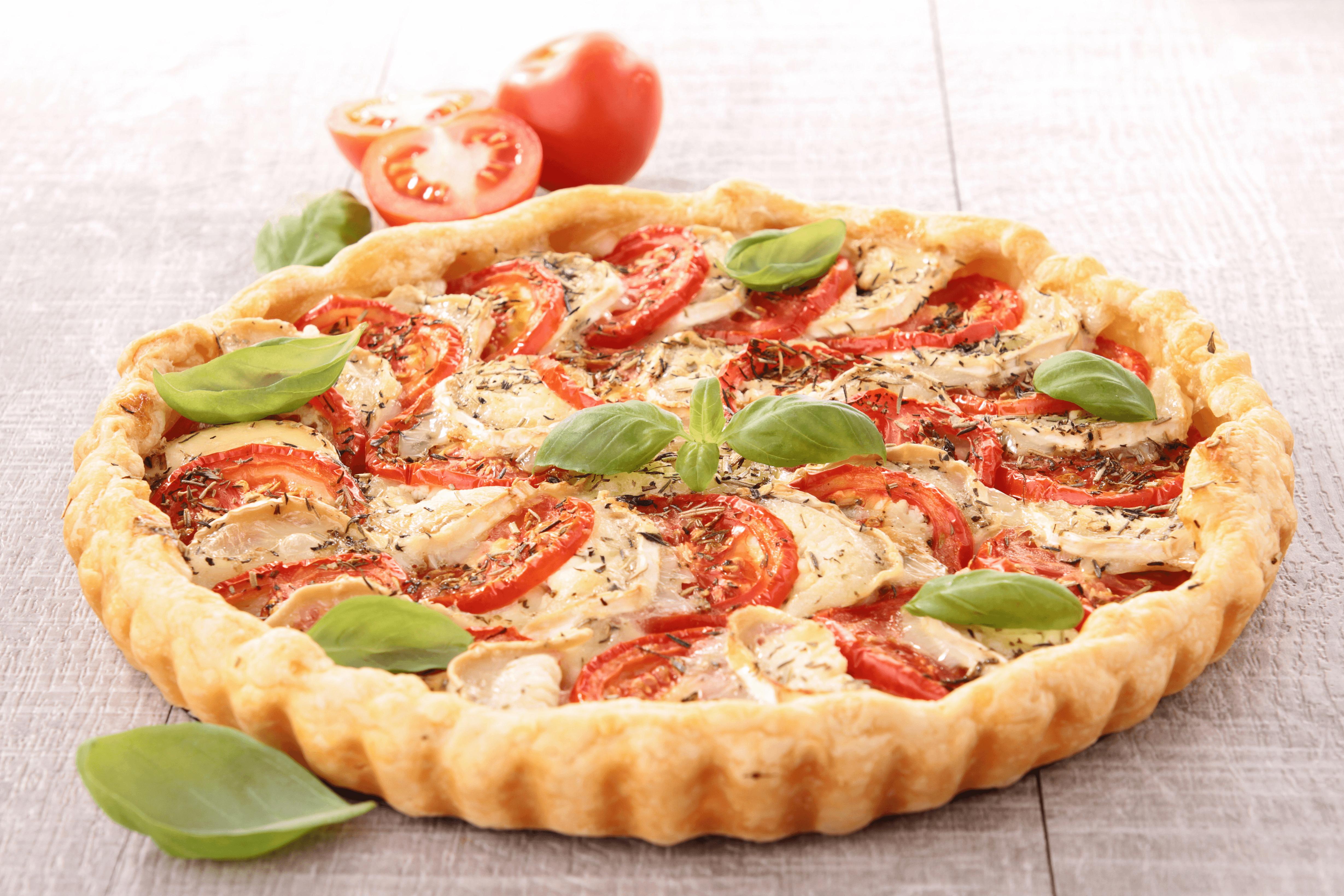 Tarte fine tomates, mozzarella et basilic